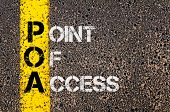Concept image of Business Acronym POA as Point Of Access written over road marking yellow painted line. poster