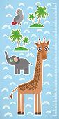 Giraffe parrot bird and palms on blue background Children height meter wall sticker. Vector illustration poster