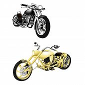 vector illustration motorbike chopper gold and monochrome isolated objects poster