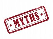 stamp myths in red over white background poster