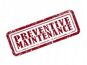 stamp preventive maintenance in red over white background poster
