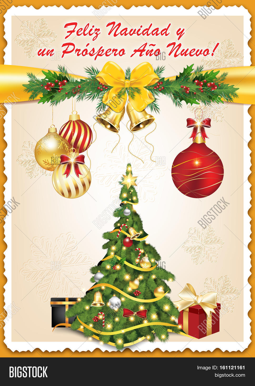 spanish seasons greetings christmas new year card feliz navidad y prospero feliz ano