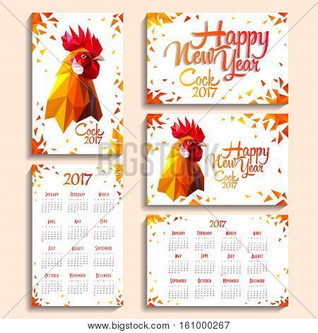 Pocket calendar 2017 on white background with a rooster. Week starts with Sunday. Gift cards Red fiery cock - symbol of New Year 2017. Polygonal Geometric Triangle style. Vector illustration