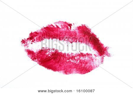 Heart-shaped lips on a white  background