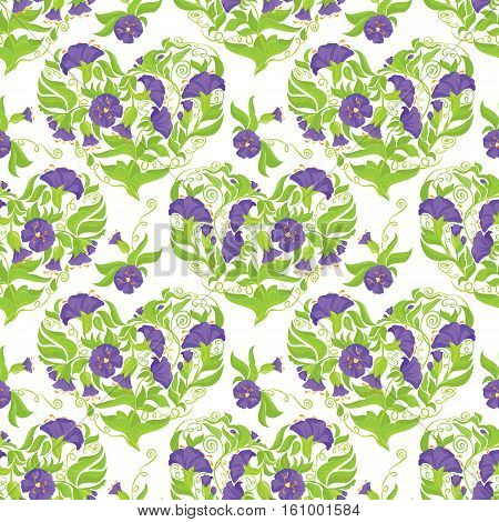 Seamless pattern - Convolvulus Flowers hearts on white background. Spring or summer floral design.
