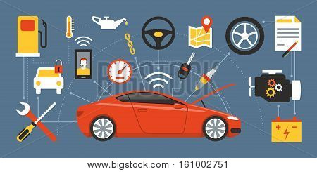 Car mainteinance and repair concept red luxury car surrounded by auto parts tools and icons