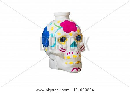 colored human skull isolated on white background