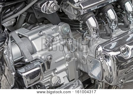Side view of a custom motorcycle engine