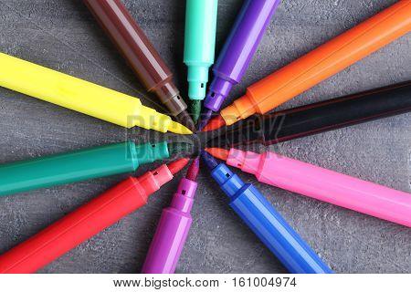 Felt-tip Pens On A Grey Wooden Table