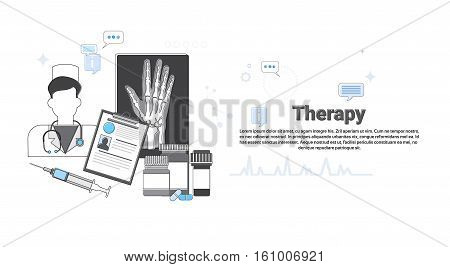 Hospital Therapy Medical Application Health Care Medicine Online Web Banner Vector Illustration