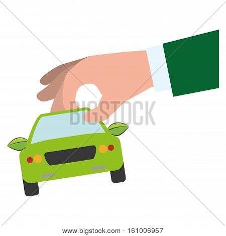 car frontview and hand holding it icon image vector illustration design