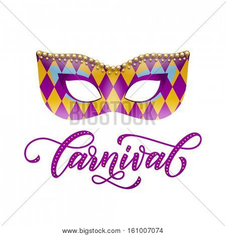 Mardi Gras mask with harlequin pattern and golden beads decoration. Carnival calligraphy lettering for Venetian masquerade festival, Fat Tuesday celebration in New Orleans or Australian Mardi Gras