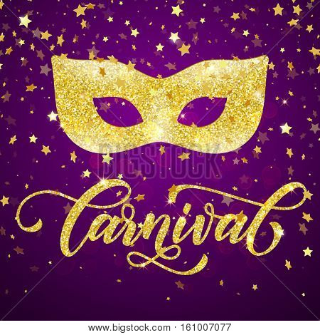 Mardi Gras golden mask carnival lettering for masquerade . Golden mask for venetian carnival masquerade. Gold glitter calligraphy lettering, sparkling confetti stars fireworks on purple background