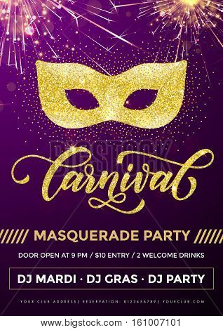 Mardi Gras masquerade party poster for carnival. Mask of gold glitter and calligraphy lettering on purple sparkling background with confetti fireworks. Disco club celebration invitation placard