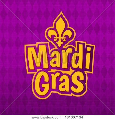 Mardi Gras gold glitter text with French lily Fleur de Lis on harlequin purple pattern background. Masquerade carnival lettering. American New Orleans Louisiana Fat Tuesday or Australian Mardi Gras