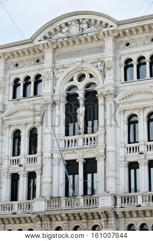 Town hall detail (Comune di Trieste) of Italian seaport Trieste.
