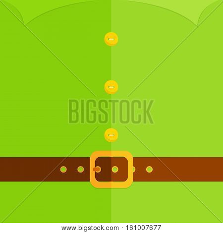 Christmas background of green elf costume with buttons, belt and buckle, illustration.