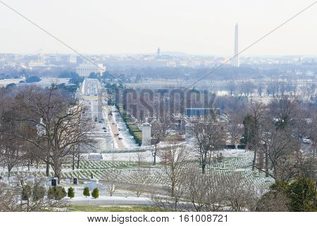 Washington DC skyline with Washington Monument, United States Capitol building, and Potomac River in winter.