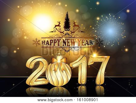 Happy New Year 2017 background / greeting card with Brightly Colorful Fireworks and colorful lights, on twilight background. Contains 3D 2017 with Christmas bauble. Print card size