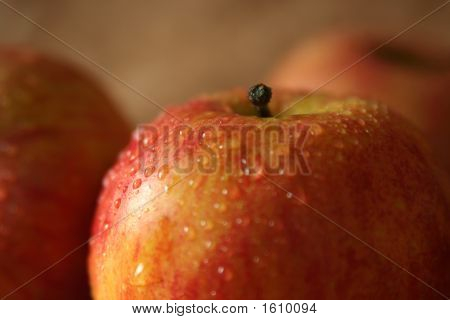 Yellow and red apples on a beige background poster