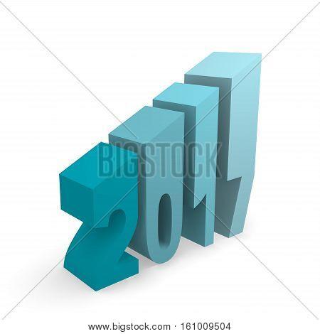 2017 in blue upswing concept image 3d rendering