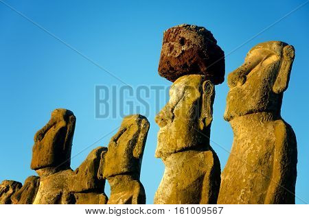 Closeup view of Moai at Ahu Tongariki on Easter Island in Chile