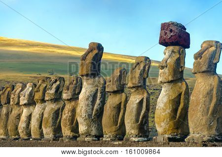 Closeup of a row of Moai at Ahu Tongariki on Easter Island in Chile