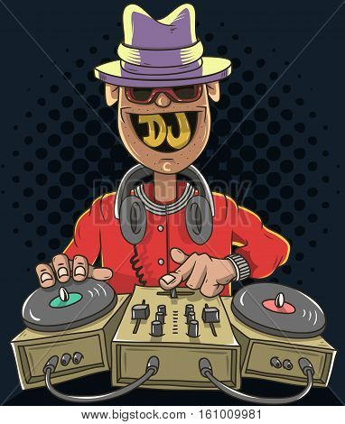 Night Club Dj Playing Music On A Sound Mixer And Gramophones And Smiling. Funny Cartoon Disc Jockey Illustration. Vector Graphic.