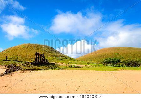 Ahu Nau Nau Moai at Anakena Beach on Easter Island in Chile