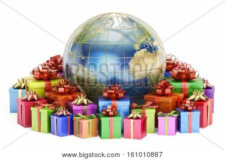 Gift delivery and global shopping concept Earth with gift boxes. 3D rendering isolated on white background