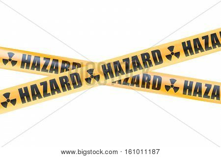 Radioactive Hazard Barrier Tapes 3D rendering isolated on white background