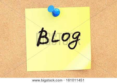 Blog! Text on a sticky note pinned to a corkboard. 3D rendering
