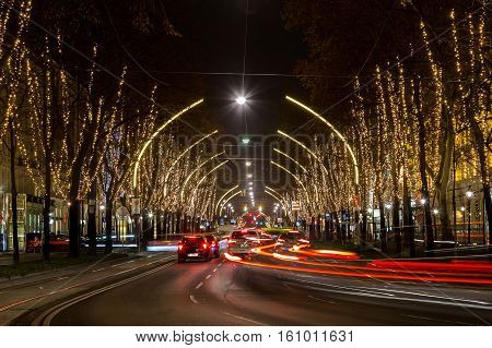 VIENNA AUSTRIA - 6TH DECEMBER 2016: New Lights on the trees along the Vienna ringstrasse.