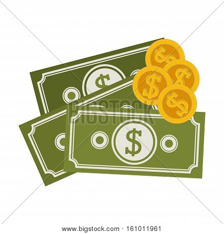 Coins and bills icon. Money financial item commerce market and buy theme. Isolated design. Vector illustration