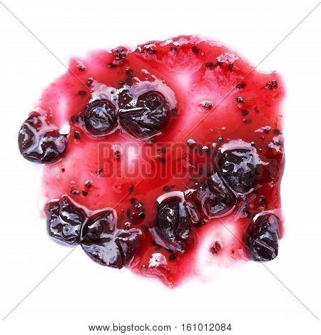 Blueberries jam spots drops and lines isolated on white background
