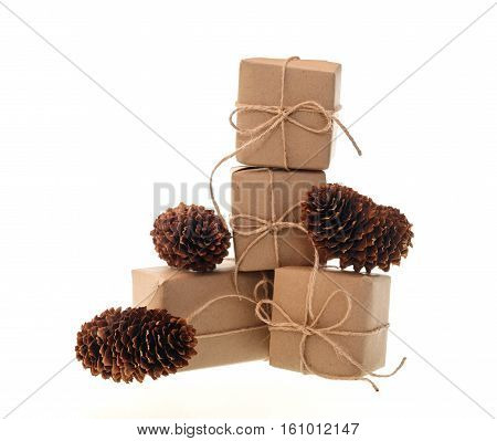 boxes with gifts and bumps isolated on white background.
