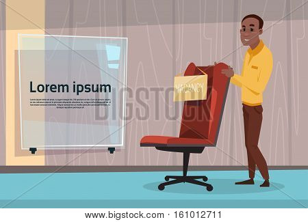 African American Business Man Recruitment New Job Position Vacancy Office Interior Mix Race Businessman Flat Vector Illustration