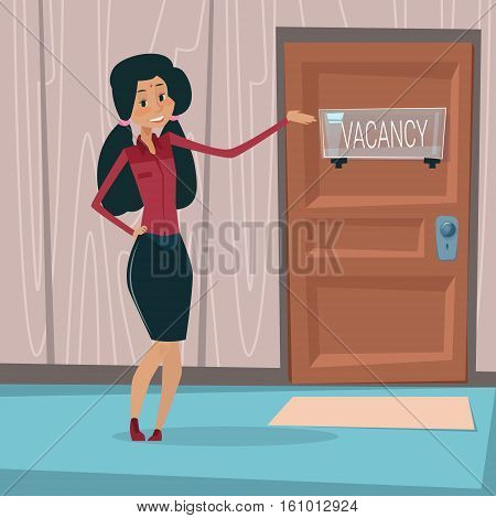 Indian Business Woman Recruitment New Job Position Vacancy Office Interior Mix Race Businesswoman Flat Vector Illustration