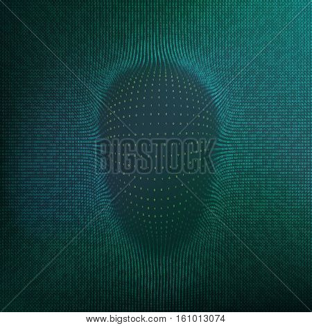 Abstract hacker face silhouette. Matrix background. Binary flow