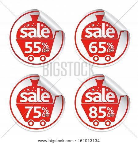 Holiday Set of New Year stickers sale .Vector Illustration