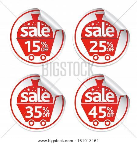 Holiday New Year stickers sale set .Vector Illustration