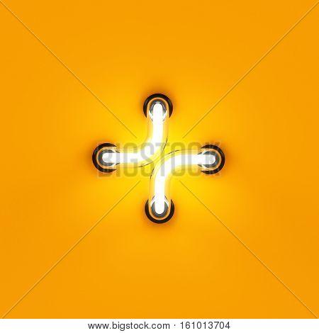 Neon Light Letter Digit Plus Sum Sing Mark