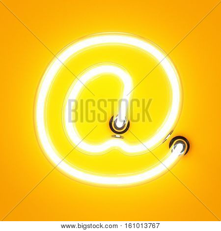 Neon Light Alphabet Character At Email Mark Sign