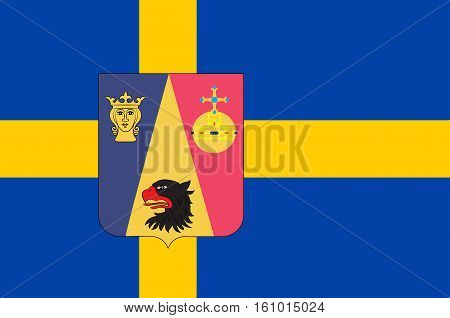 Flag of Stockholm County is a county on the Baltic sea coast of Sweden