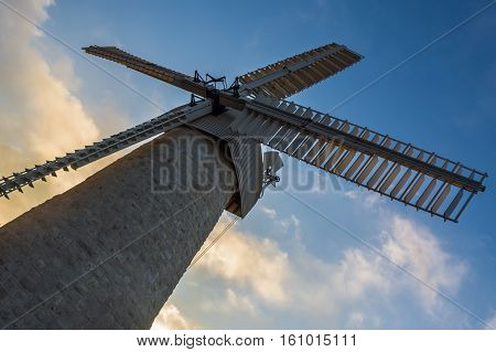 Historical Montefiore windmill Jerusalem city  Israel. middle east