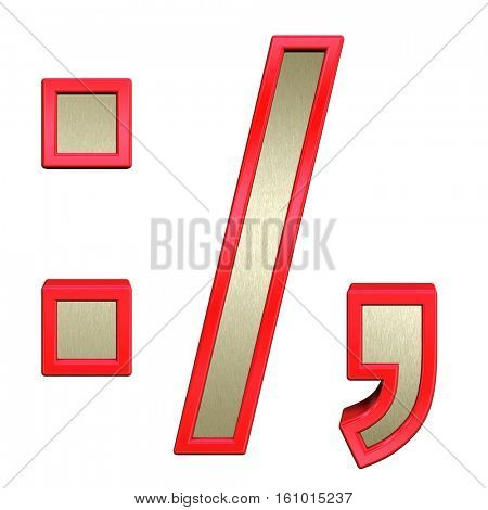 Colon, semicolon, period, comma from brushed gold with red frame alphabet set, isolated on white. 3D illustration.