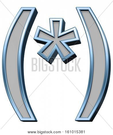 Parenthesis, asterisk from gray with blue frame alphabet set, isolated on white. 3D illustration.