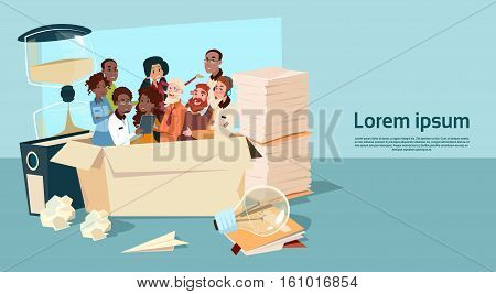 Ethnic Business People Group Meeting Mix Race Team Businesspeople Overworked Deadline Concept Flat Vector Illustration