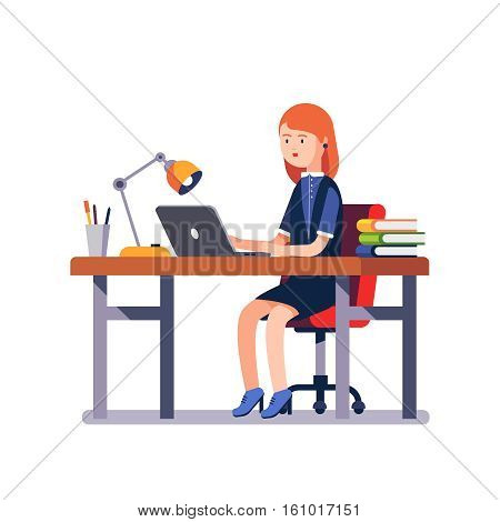 Business woman or a clerk working at her office desk. Modern colorful flat style vector illustration isolated on white background.