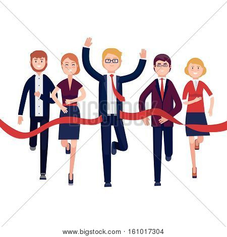 Businessman and woman crossing finish line and tearing red ribbon finishing first in a business market competition race. Modern colorful flat style vector illustration isolated on white background.